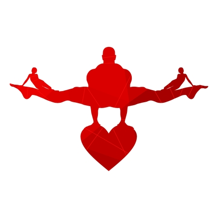 Muscular man balancing on heart icon. VWoman icons on the legs of the man. Love triangle metaphor. Connected lines with dots.