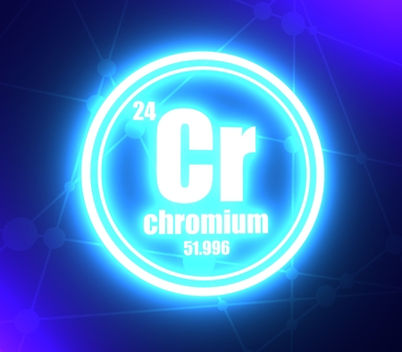 Chromium chemical element. Sign with atomic number and atomic weight. Chemical element of periodic table. Molecule and communication background. Connected lines with dots. 3D rendering Фото со стока