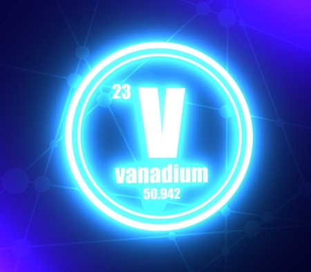 Vanadium chemical element. Sign with atomic number and atomic weight. Chemical element of periodic table. Molecule and communication background. Connected lines with dots. 3D rendering