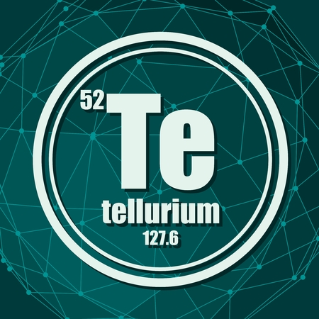 Tellurium chemical element. Sign with atomic number and atomic weight. Chemical element of periodic table. Molecule And Communication Background. Connected lines with dots.