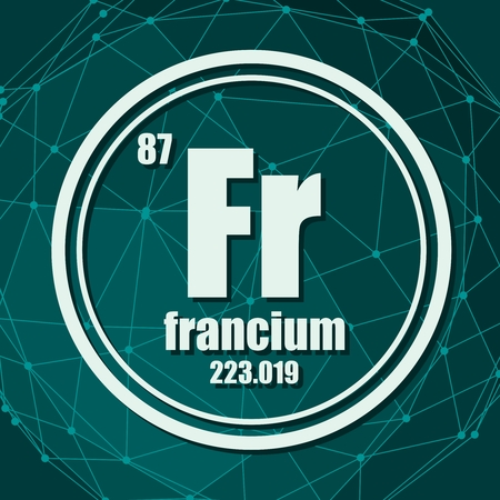 Francium chemical element. Sign with atomic number and atomic weight. Chemical element of periodic table. Molecule And Communication Background. Connected lines with dots.
