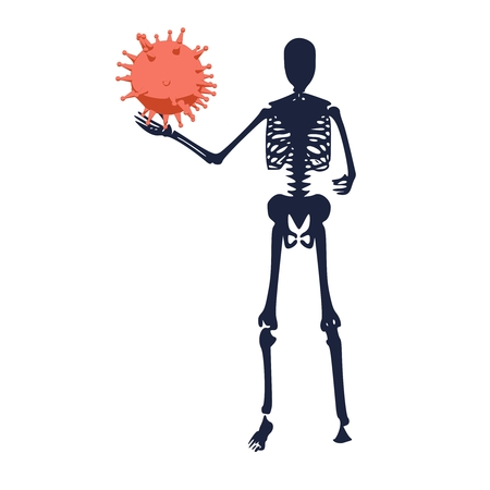 Medical industry, biotechnology and biochemistry. Scientific medical designs. Virus diseases relative theme. Human skeleton standing with virus model Illustration