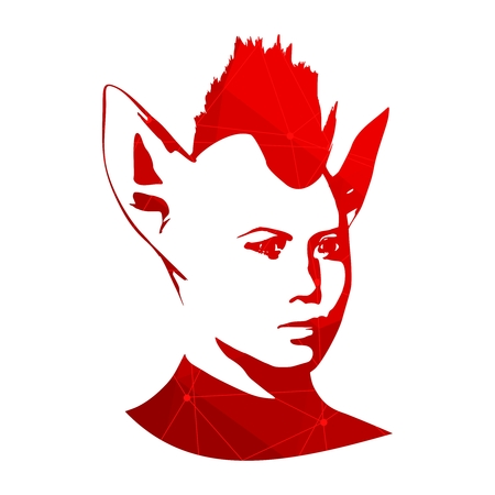 The silhouette of a woman head with cat ears. Mohawk hairstyle. Textured by lines and dots pattern
