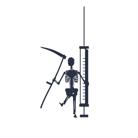 Abstract image relative to drugs addiction. Pharmacy and medicaments. Skeleton silhouette holding isometry volumetric syringe. Grim reaper Ilustração