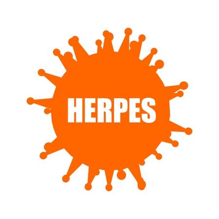 Medical industry, biotechnology and biochemistry. Scientific medical designs. Virus diseases relative theme. Herpes virus name