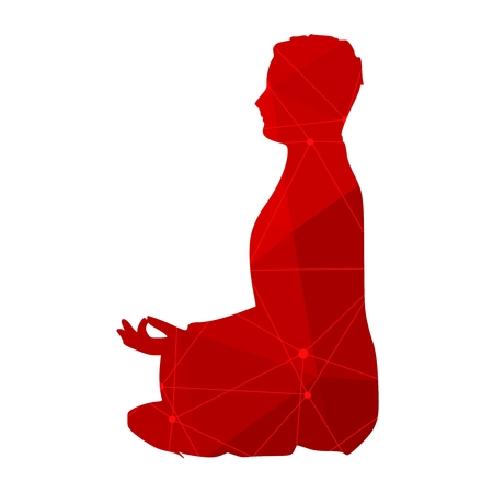 Businessman sit in meditation pose. Textured by lines and dots pattern Illustration
