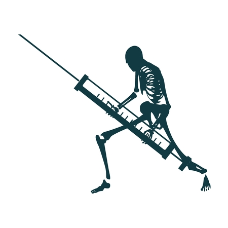 Abstract image relative to drugs addiction. Pharmacy and medicaments. Skeleton silhouette holding isometry volumetric syringe Ilustração