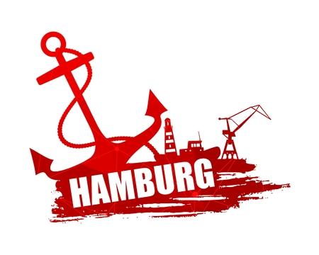 Icônes d'ancre, de phare, de navire et de grue sur coup de pinceau. Inscription de calligraphie. Texte du nom de la ville de Hambourg. Lignes connectées avec des points.