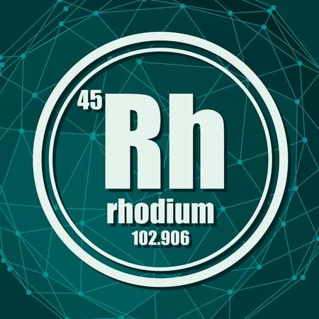 Rhodium chemical element. Sign with atomic number and atomic weight. Chemical element of periodic table. Molecule And Communication Background. Connected lines with dots. Illustration
