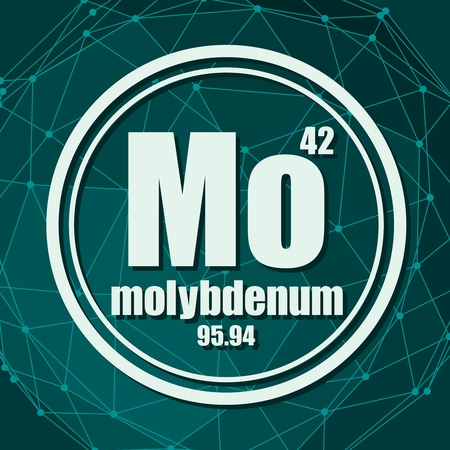 Molybdenum chemical element. Sign with atomic number and atomic weight. Chemical element of periodic table. Molecule And Communication Background. Connected lines with dots.