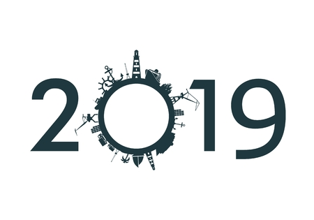 Circle with sea shipping and travel relative silhouettes. Objects located around the circle. Industrial design background. 2019 year number Ilustração