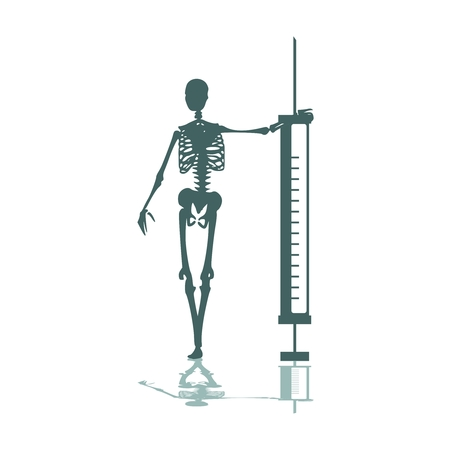 Abstract image relative to drugs addiction. Pharmacy and medicaments. Skeleton silhouette holding isometry volumetric syringe Imagens - 124991466
