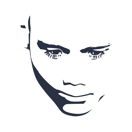 Man avatar. Front view. Male happiness face silhouette or icon. Imagens - 124960282