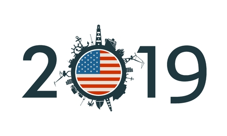 Circle with sea shipping and travel relative silhouettes. Objects located around the circle. Industrial design background. 2019 year number. Flag of the USA Imagens - 124930877