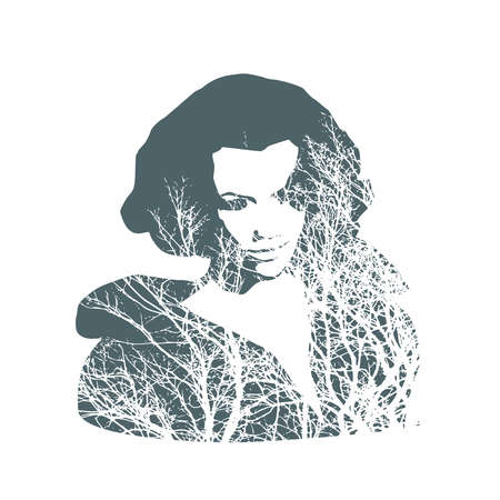Face half turn view. Elegant silhouette of a head textured by tree branches. Double exposure 向量圖像