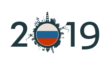 Circle with sea shipping and travel relative silhouettes. Objects located around the circle. Industrial design background. 2019 year number. Flag of the Russia