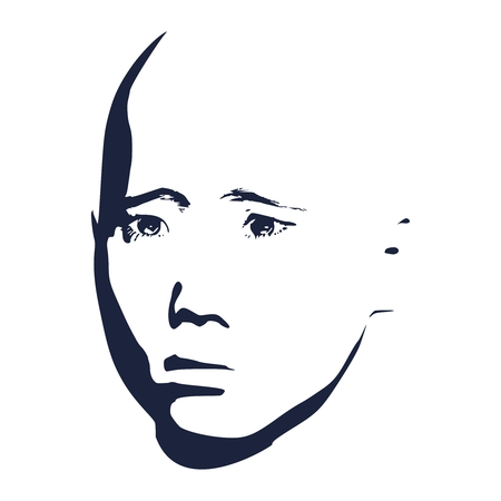 Asian face of the young Chinese, Thai, Japanese and Korean guy. Portrait of angry and depressed man. Facial expressions. Face front view.