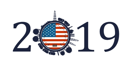 Circle with energy relative silhouettes. Design set of natural gas industry. Objects located around the manometer circle. 2019 year number. Flag of the USA