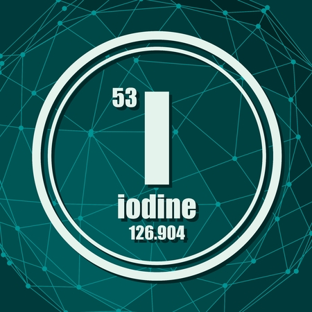 Iodine chemical element. Sign with atomic number and atomic weight. Chemical element of periodic table. Molecule And Communication Background. Connected lines with dots. Ilustração