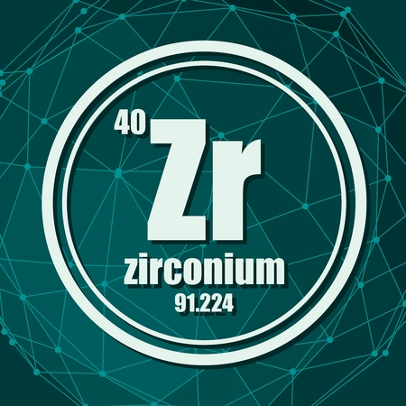 Zirconium chemical element. Sign with atomic number and atomic weight. Chemical element of periodic table. Molecule And Communication Background. Connected lines with dots. Imagens - 124784065