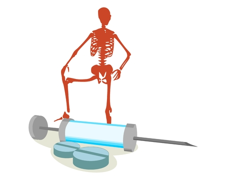 Abstract image relative to drugs addiction. Pharmacy and medicaments. Isometry volumetric pills and syringe. Skeleton silhouette Illustration
