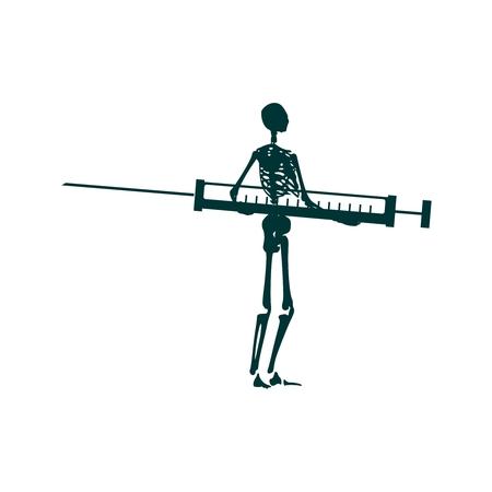Abstract image relative to drugs addiction. Pharmacy and medicaments. Skeleton silhouette holding isometry volumetric syringe Illustration