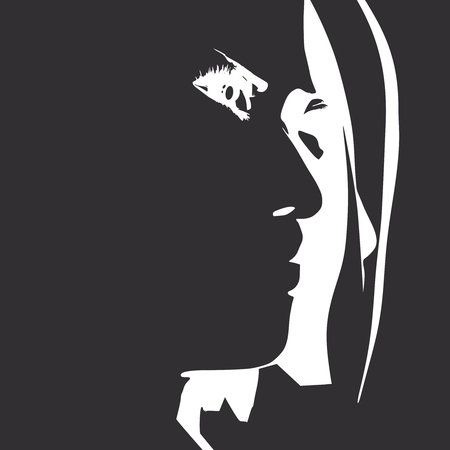 Face side view. Elegant silhouette of a female head. Portrait of a happy smiled woman