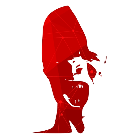 Demonic ugly face. Devil scream character. Demon or monster screaming with in an open mouth as a front view horror face. Connected lines with dots. Imagens - 124784072