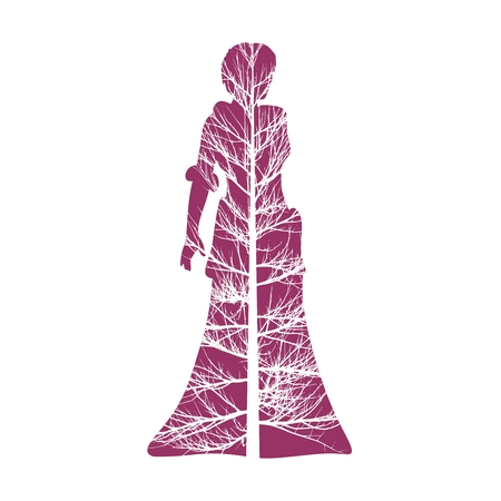 Business Woman Black Silhouette Standing Full Length Over White Background. Double exposure Illustration