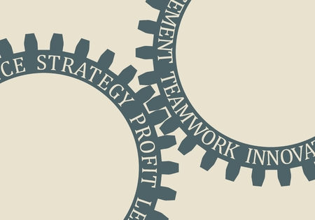 Business relative words on the mechanism of gears. Communication concept in industrial design.