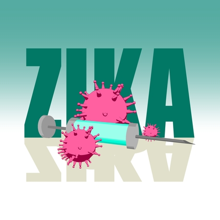 Abstract virus image on backdrop and zika text. Zika virus danger relative illustration. Medical research theme. Virus epidemic alert