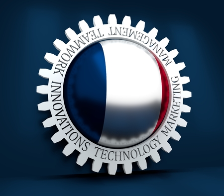 Cog wheel with France flag. Precision machinery relative backdrop. 3D rendering