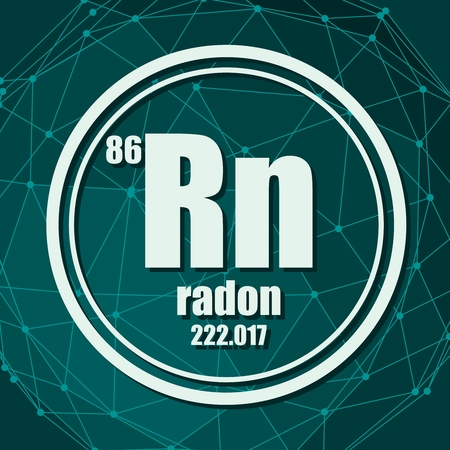 Radon chemical element. Sign with atomic number and atomic weight. Chemical element of periodic table. Molecule And Communication Background. Connected lines with dots. Vector Illustration
