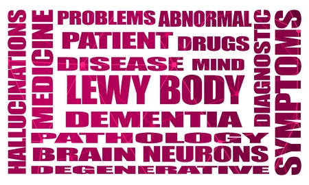 Lewy body dementia tags cloud. Connected lines with dots. Healthcare and medical background