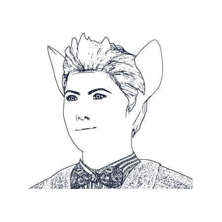 The silhouette of a woman head with cat ears. Outline sketch style