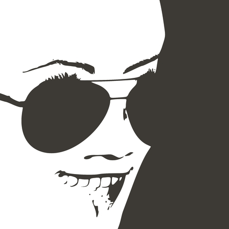 Portrait of surprised woman with open mouth in black sunglasses.