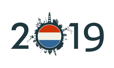 Circle with sea shipping and travel relative silhouettes. Objects located around the circle. Industrial design background. 2019 year number. Flag of the Netherlands
