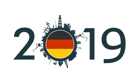 Circle with sea shipping and travel relative silhouettes. Objects located around the circle. Industrial design background. 2019 year number. Flag of the Germany