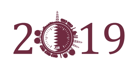 Circle with energy relative silhouettes. Design set of natural gas industry. Objects located around the manometer circle. 2019 year number. Flag of the Qatar Ilustração