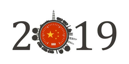 Circle with energy relative silhouettes. Design set of natural gas industry. Objects located around the manometer circle. 2019 year number. Flag of the China