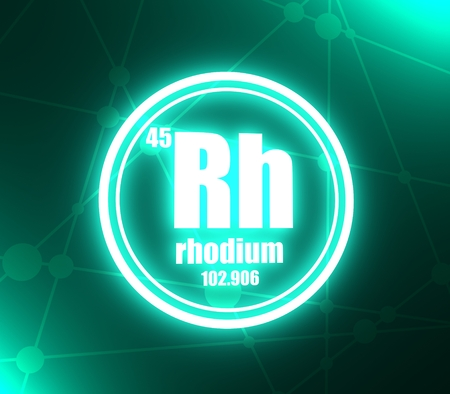 Rhodium chemical element. Sign with atomic number and atomic weight. Chemical element of periodic table. Molecule and communication background. Connected lines with dots. 3D rendering