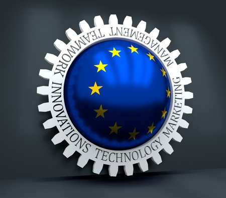 Cog wheel with European Union flag. Precision machinery relative backdrop. 3D rendering 写真素材