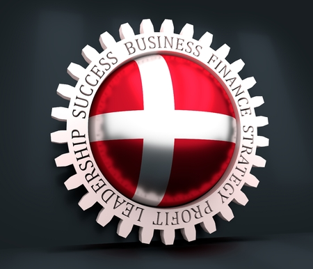 Cog wheel with Denmark flag. Precision machinery relative backdrop. 3D rendering