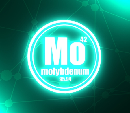 Molybdenum chemical element. Sign with atomic number and atomic weight. Chemical element of periodic table. Molecule and communication background. Connected lines with dots. 3D rendering Stock Photo