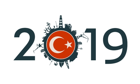 Circle with sea shipping and travel relative silhouettes. Objects located around the circle. Industrial design background. 2019 year number. Flag of the Turkey