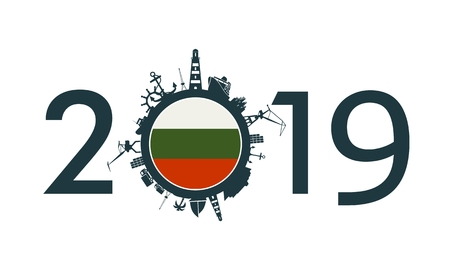 Circle with sea shipping and travel relative silhouettes. Objects located around the circle. Industrial design background. 2019 year number. Flag of the Bulgaria Ilustração
