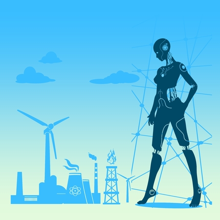 Humanoid robot silhouette and industrial icons. Robotics industry relative image.