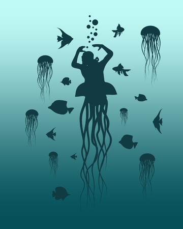 Silhouettes of diver and fishes around. Jelly fish as lower part of the body. The concept of sport diving.