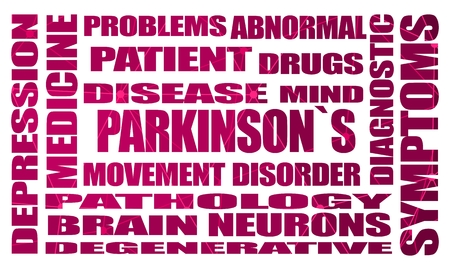 Parkinsons syndrome disease tags cloud. Connected lines with dots. Healthcare and medical background