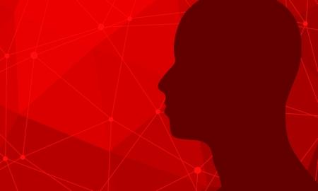 Silhouette of a man head. Mental health relative brochure, report or flyer design template. Scientific medical designs.